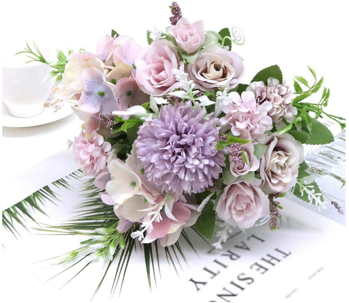 MUZIBLUE Babys Breath Artificial Flowers| 7 Heads Hydrangea Flowers Artificial Bouquet Silk Blooming Fake Peony Bridal Hand Flower Roses Wedding Centerpieces Decor-15