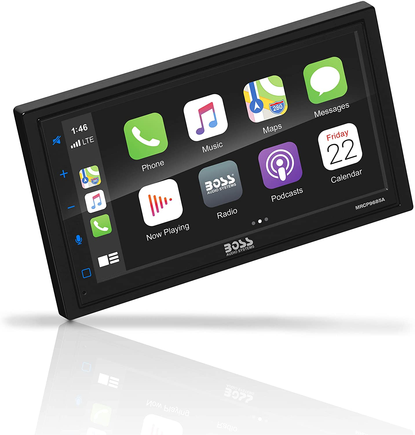 BOSS Audio Systems Marine Rated Weatherproof MRCP9685A Apple CarPlay Android Auto Multimedia Player - Double Din, 6.75 Inch LCD Touchscreen, Bluetooth, USB Port, A/V Input, AM/FM, No CD-DVD