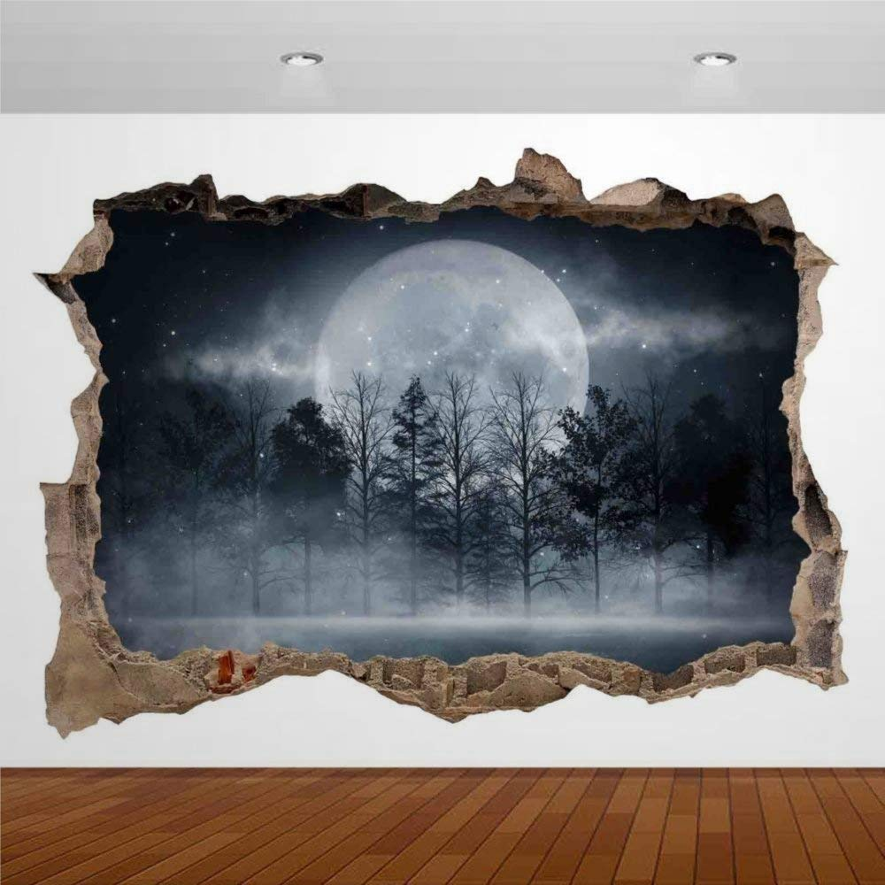 Nature Dark Forest Moon Night Smoke 3D Wall Stickers Mural Smashed Wall Art Creative Removable Poster Vinyl Decals for Bedroom Living Room Playroom Nursery Office Shop