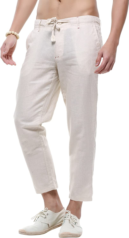 chouyatou Men's Casual Drawstring Straight Fit Beach Linen Capri Pants