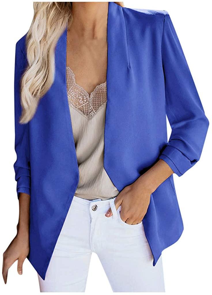Goodxing Women Long Sleeve Plus Size Silk Satin Jacket Formal Cardigan Pockets Office Suit Coat Blazer Solid Color