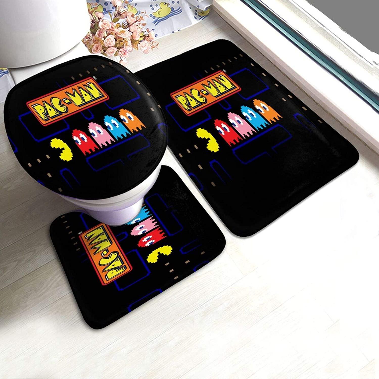 Jiaba Pac Man Bath Rug Sets 3 Piece for Bathroom Non Slip Bath Mat Set Washable Bath Rug