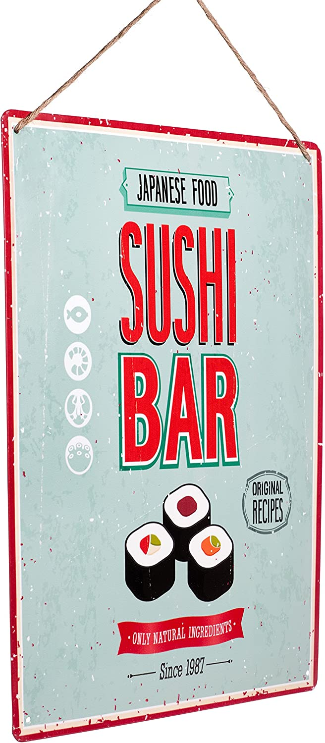"""Monarch Housewares Tin Metal Signs - """"Sushi Bar"""" – Foodie, Food and Restaurant, Modern, Retro Style, Wall Decorations"""
