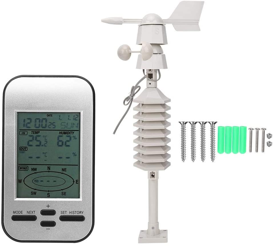 Wireless Weather Station with Wind Sensor, Digital Hygrometer Thermometer Tester Humidity Gauge Monitor