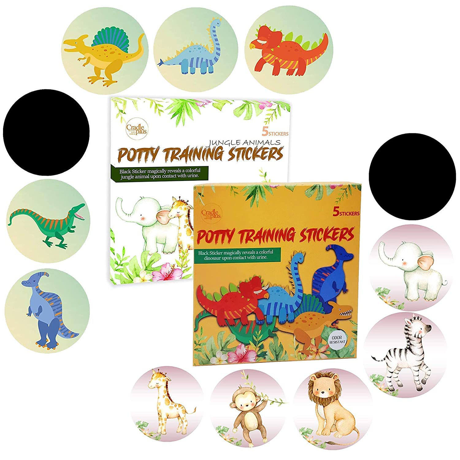 Potty Training Seat Magic Sticker | Potty Training Toilet Color Changing Sticker | 10 Pack Magical Stickers | Use with or Without Potty Training Charts I Jungle Animal and Dinosaur Stickers