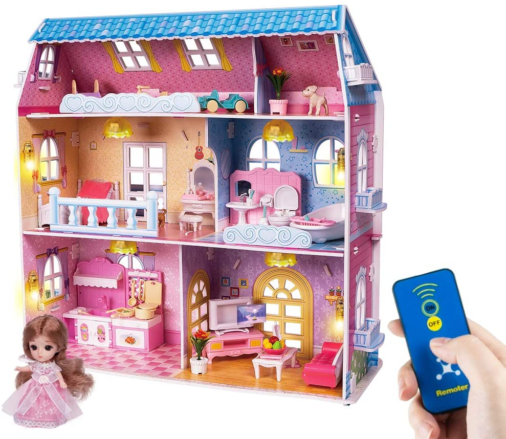 LADUO Dollhouse Toy Set, with Furniture and Remote Control Lights. 6 Rooms on Three Floors, Doll House Toy for 3-6year Girls