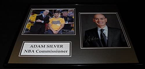 Adam Silver Signed Framed 16x20 Photo Display w/Stephen Curry