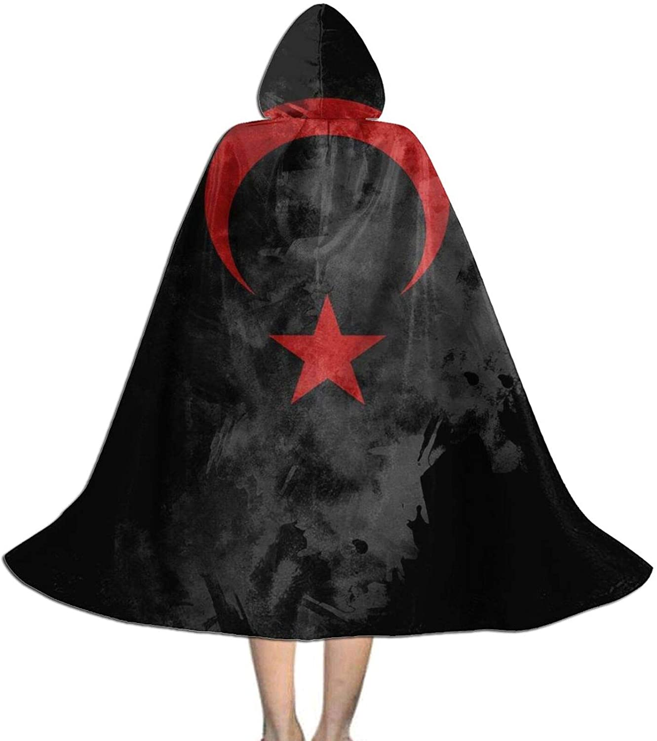 LNUO-1 Unisex Turkish Flag Kids Long Hooded Cloak Cape for Halloween Party Role Cosplay Costumes