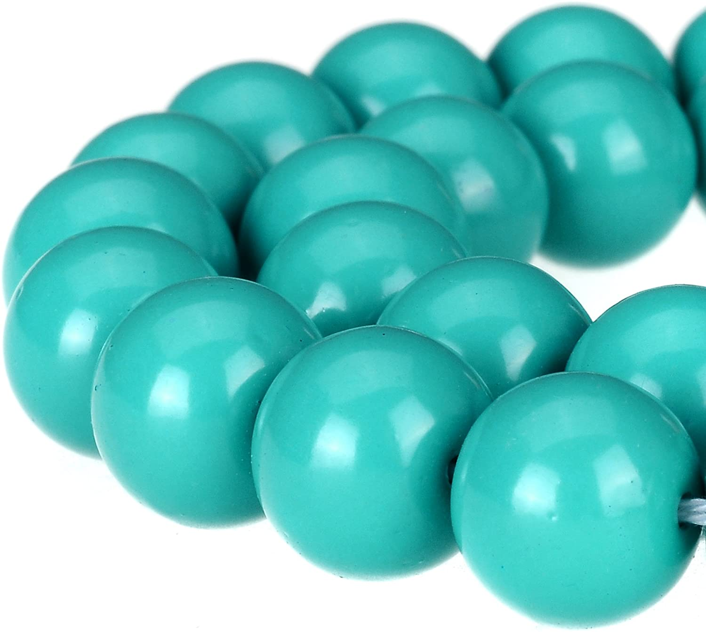 RUBYCA Round Opaque Painted Druk Czech Glass Beads Bulk Jewelry Making Supplies Strand (Blue, 4mm)