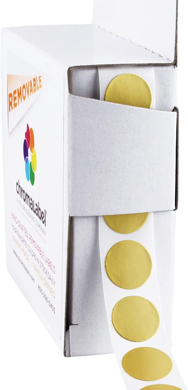 ChromaLabel 1/2 Inch Round Removable Color-Code Dot Stickers, 1000 per Dispenser Box, Metallic Gold