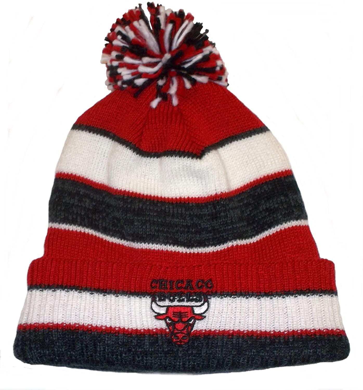 Chicago Bulls Striped Cuffed Knit w/pom Hat - Osfa
