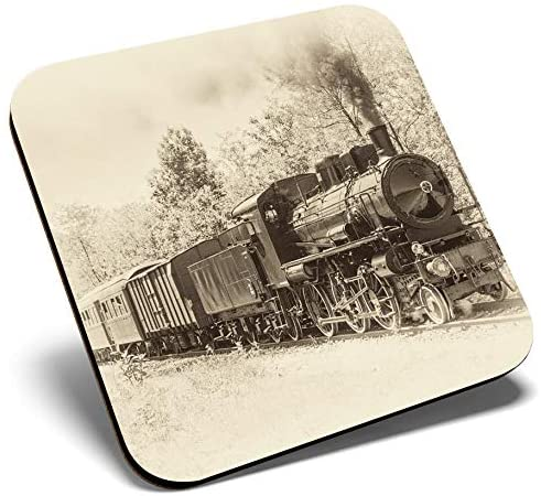 Great Single Coaster Square - American Steam Train Sepia |Glossy Quality Coasters | Tabletop Protection for Any Table Type #2181