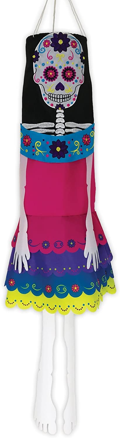In the Breeze 5063 La Catrina 40 Inch Breeze Buddy Windsock - Hanging Day of The Dead Decoration - Outdoor Holiday Décor