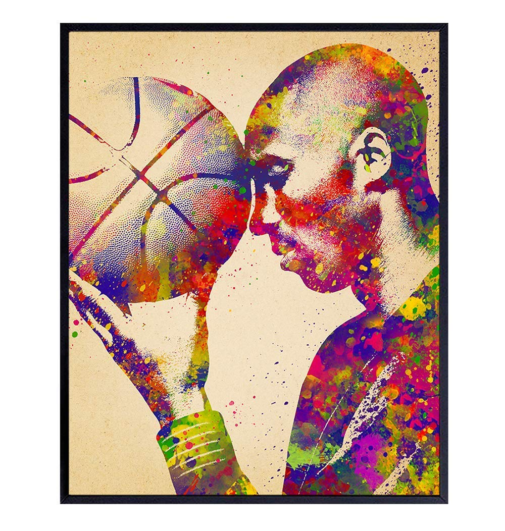 Original Kobe Bryant Basketball Poster - 8x10 Wall Art, Home Decor for Bedroom, Living Room, Office, Sports Bar, Man Cave - Gift for LA Lakers Fan, Men, Boys, Teens Husband, Boyfriend - UNFRAMED Print