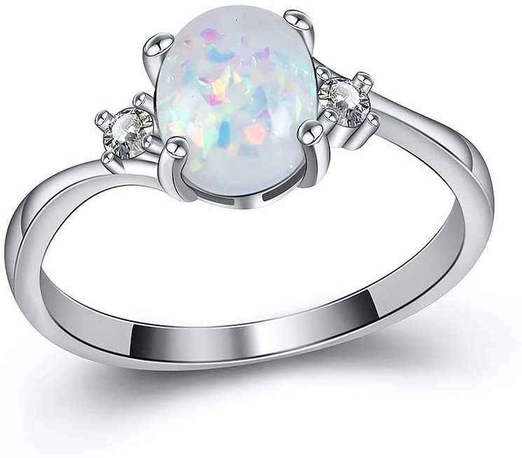 ZX Exquisite Women's 925 Sterling Silver Ring Oval Cut Fire Opal Diamond Jewelry Birthday Proposal Gift Bridal Engagement Party Band Rings Size 5-11 White 10