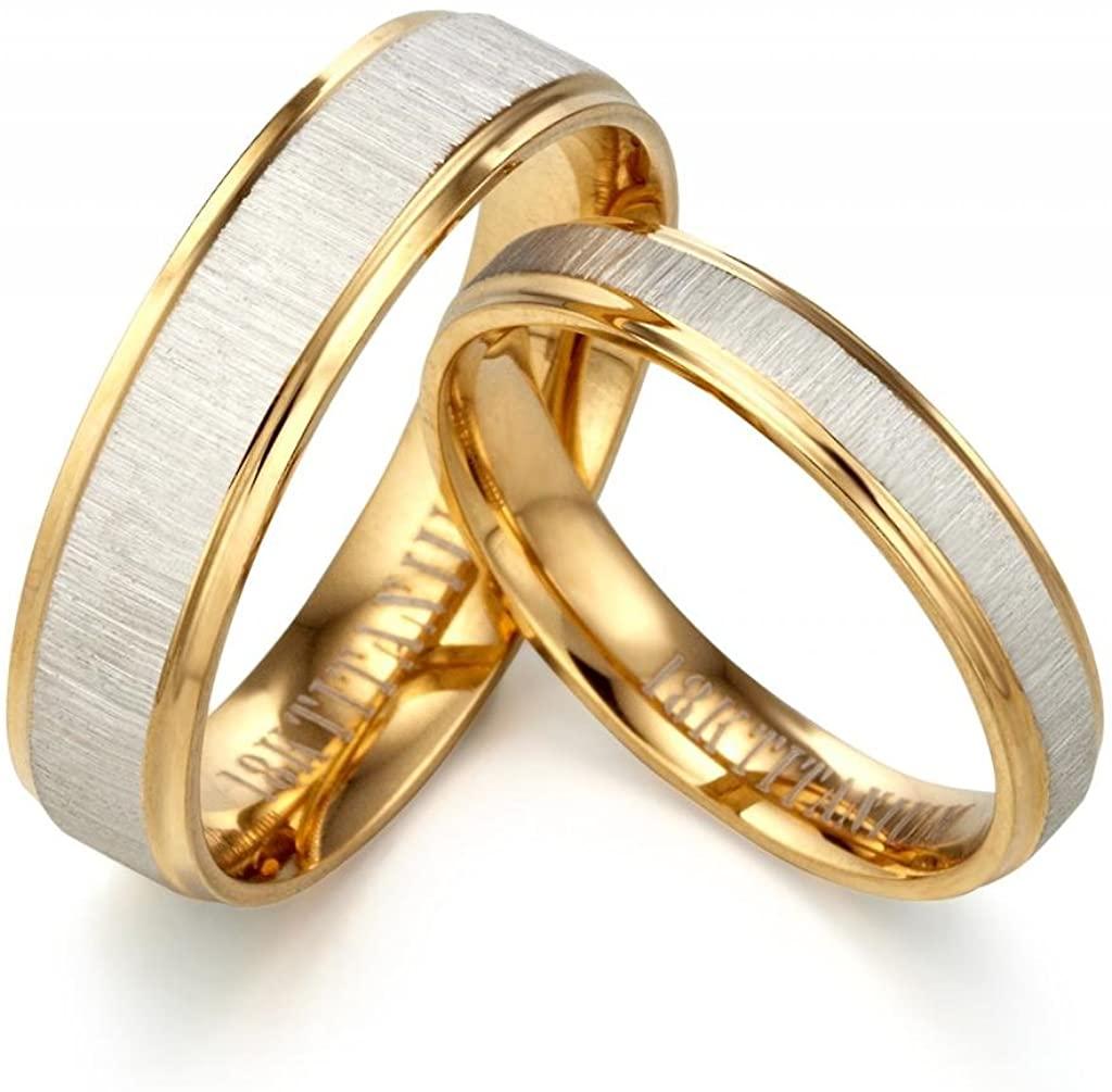 Gemini Groom or Bride Yellow Gold Filled Anniversary Wedding Ring Width 6mm