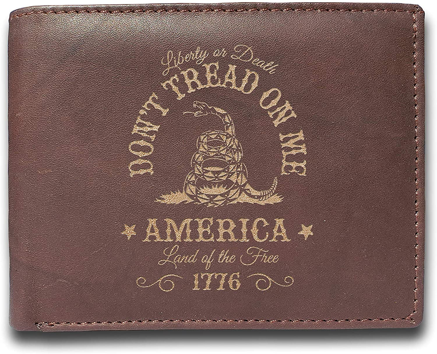 LIBERTY or DEATH- DON'T TREAD ON ME - AMERICA Land of the Free III PERCENTERS - A Perfect Gift for Him - Leather Laser Engraved Slimfold Men's Wallet - Slim 14 Pocket - Unique Present by Liam Carlton