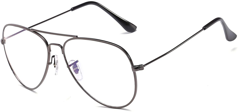 SIPU Classic Non prescription Aviator Glasses Clear Lens Metal Frame Eyewear for Men Women