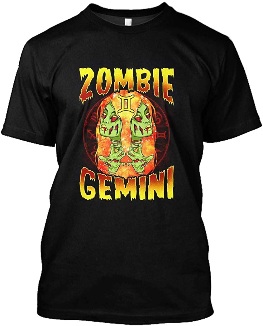 Birthday Shirt Anime Scary Halloween Witch Zombie Gemini Zodiac T-Shirt Funny Gift for Birthday Men Women
