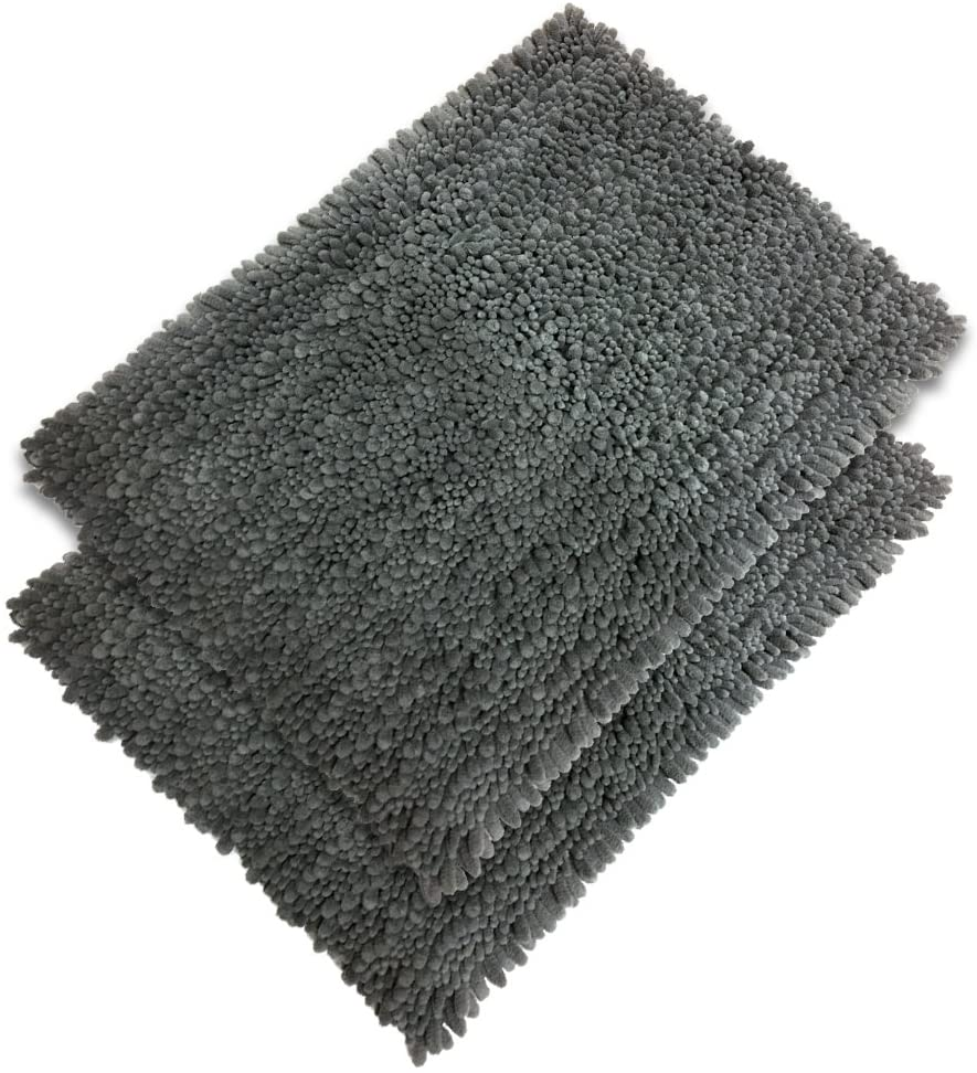 Raphael Rozen Elegant Bath Set of 2 Microfiber Shag Bath Mat, Non Slip Backing, Ultra Soft, Extremely Absorbent and Fast Drying. Durable, Easy Cleaning, Machine Washable. 5 Gray, 17