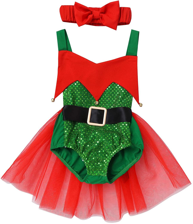 CHICTRY Baby Girls Christmas Little Elf Helper Costume Halter Neck Backless Sequined Romper Tutu Dress
