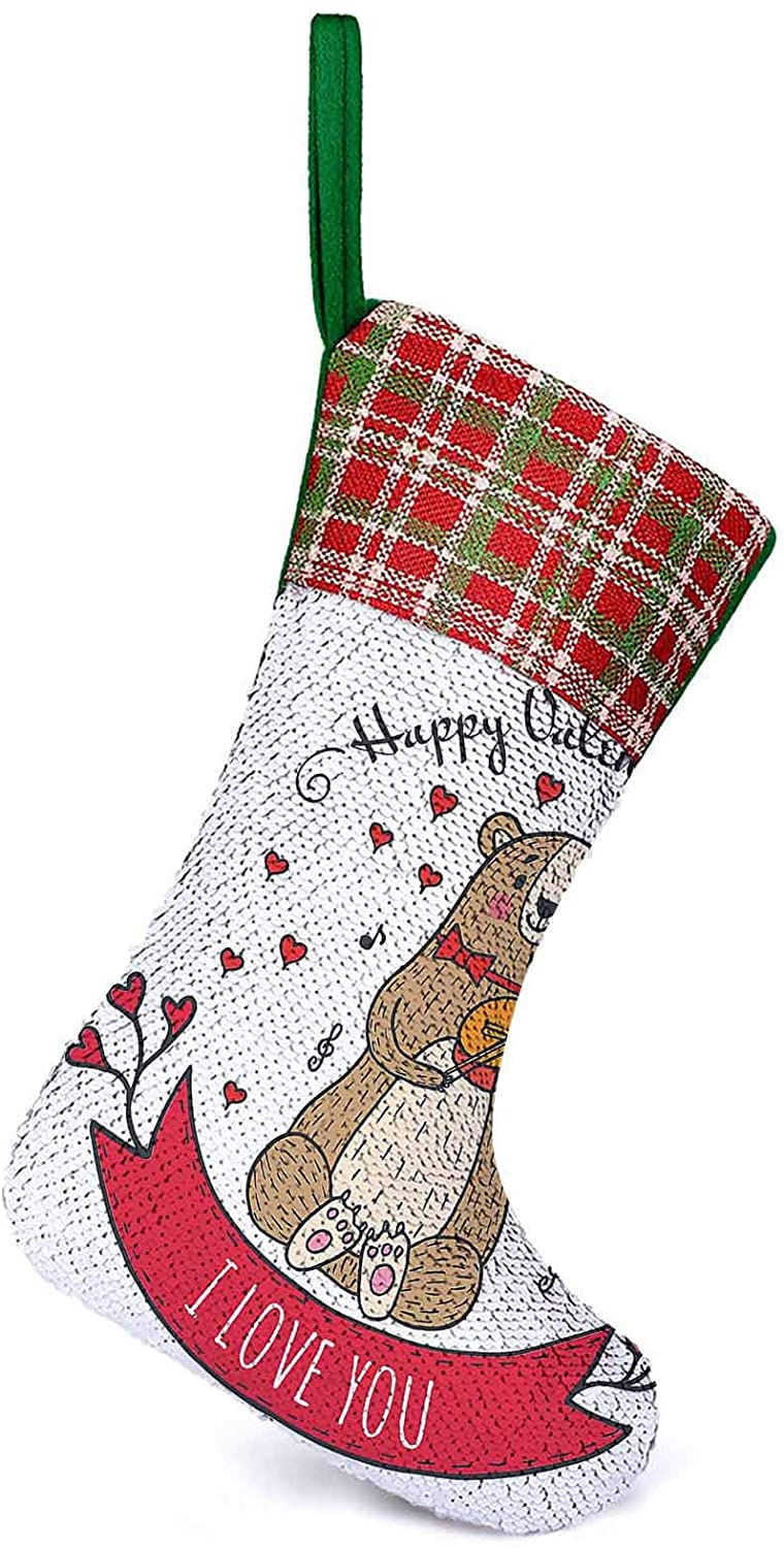 Customize Christmas Stocking Teddy Bear with Violin Made with Love Romantic Music Notes Heart Love Hanging Ornament Decorations It Make Your Christmas Much Sweeter 9.9 x 13.2 Inch