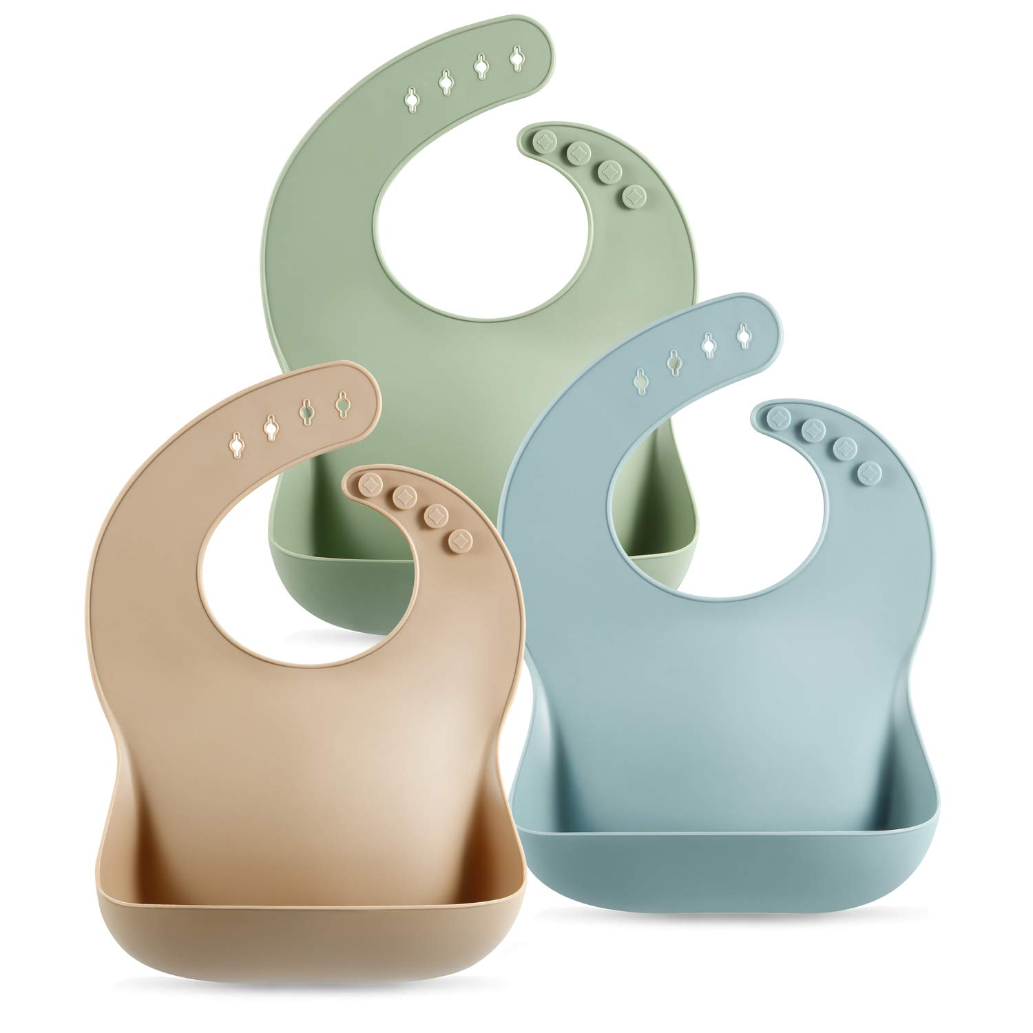 PandaEar Set of 3 Cute Silicone Baby Bibs for Babies & Toddlers (10-72 Months) Waterproof, Soft, Unisex, Non Messy (Brown/Blue/Green)