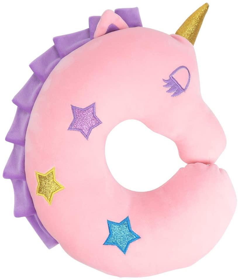 Kids Travel Pillow,UnicornNeck Pillow,Soft Car Seat Sleeping Head Support,Airplane Travel Accessories,Plush Animal U Shaped Cushion,Perfect Unicorn Christmas Birthday Gift for Kids Child (Pink)