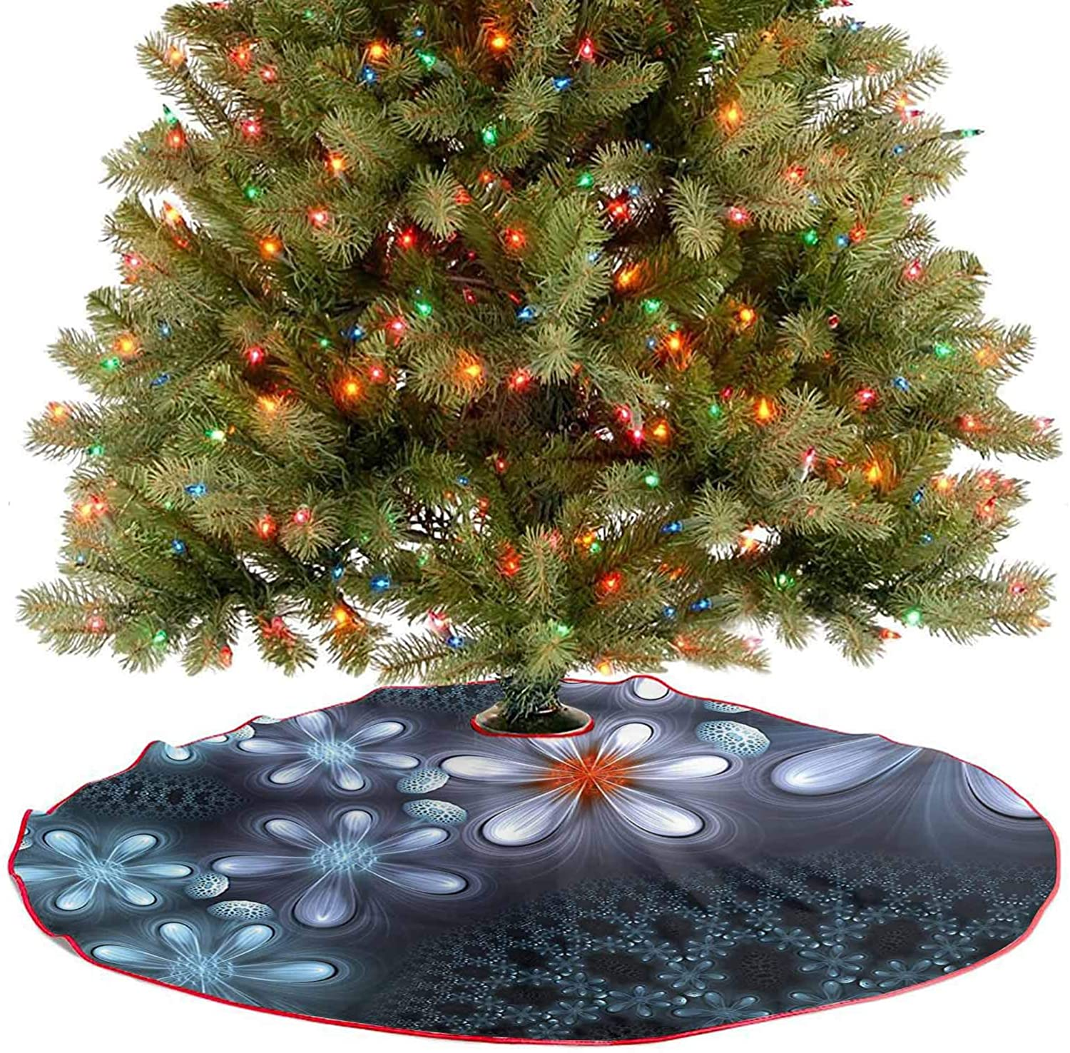 Adorise Xmas Tree Mat Vibrant Flower Pattern Graphic Art Featured Futuristic Petals with Free 3D Glasses Xmas Tree Holiday Decorations Goes Perfectly with Your Tree - 30 Inch