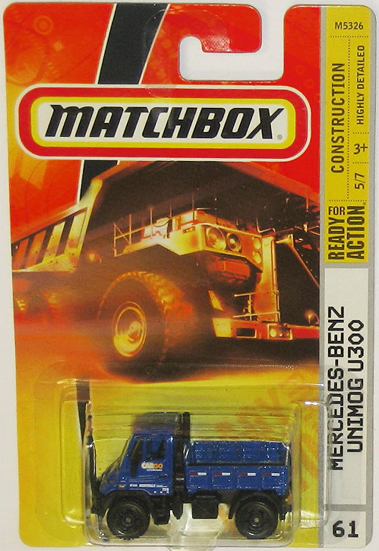 BENZ UNIMOG U300 Matchbox 2007 Construction Series Blue Multi Purpose Four Wheel Drive Medium Trucks Mercedez-Benz Unimog U300 1:64 Scale Collectible Die Cast Metal Toy Car Model #61