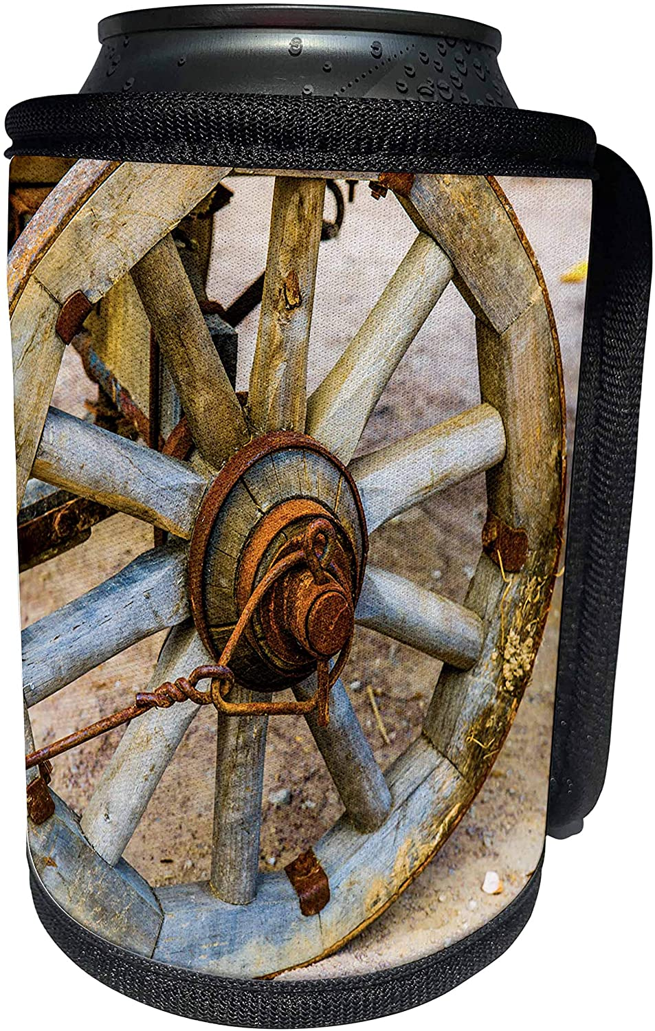3dRose Alexis Photography - Objects - Vintage cart wheel. Rusty metal - Can Cooler Bottle Wrap (cc_270823_1)