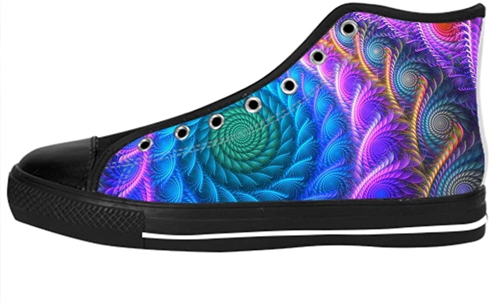 Custom Peacock Feathers Mens Classic High Top Canvas Shoes Fashion Sneaker