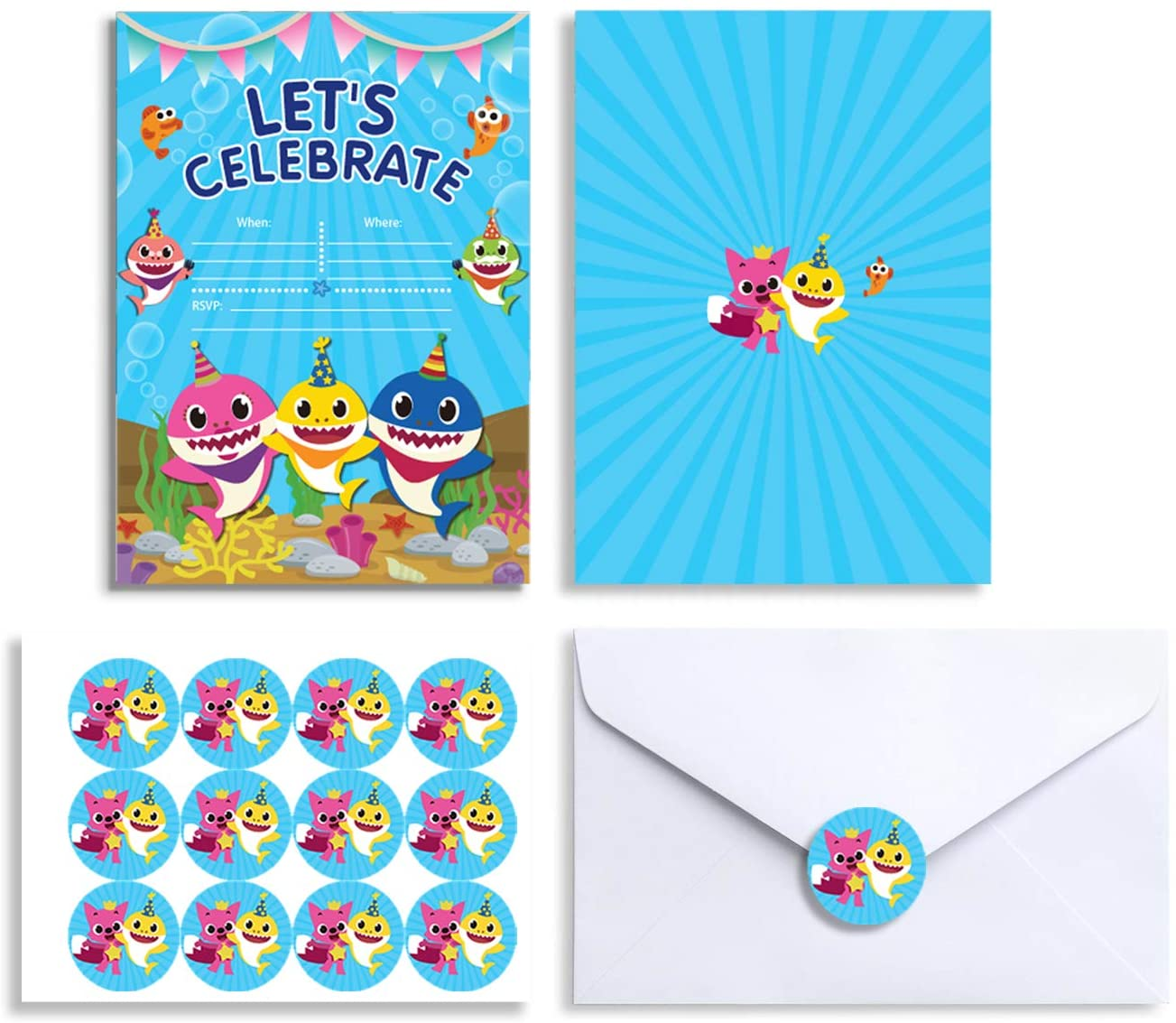 12 Shark Birthday Invitations with Stickers Envelopes Party Invitation Invites Cards for 1st Girls or Boys