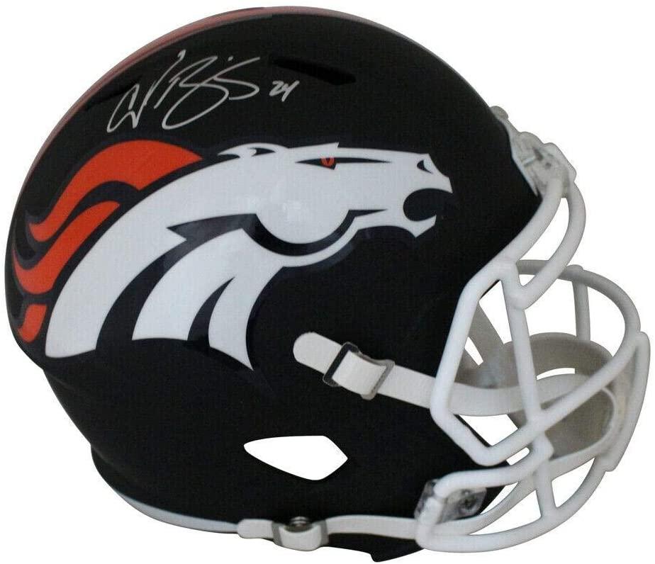 Champ Bailey Autographed Denver Broncos Black Matte Replica Helmet JSA 21258 - Autographed NFL Helmets