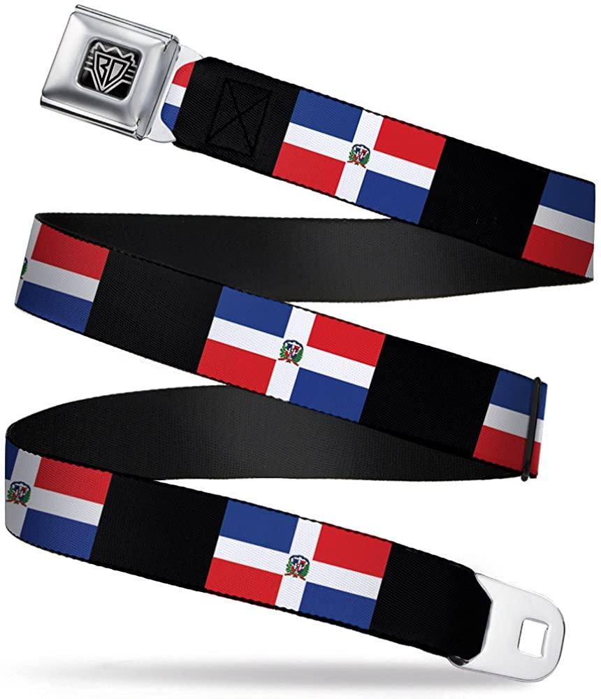 Buckle-Down Seatbelt Belt - Dominican Republic Flags/Black Blocks - 1.5