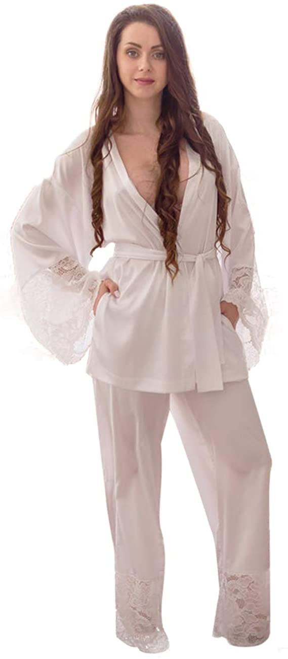 BathGown Women's White Satin and Lace Bridal Pajama Sleepwear Bridal Lingerie Loungewear