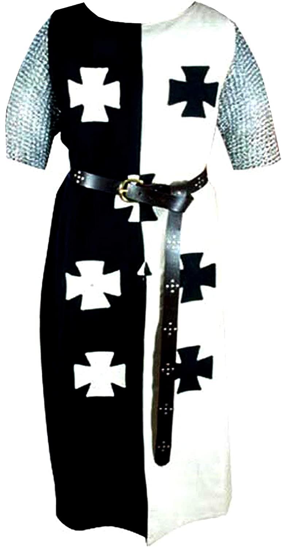 PRIMEBAIL Medieval Sleeveless Templar Knight Tunic Renaissance Cosplay Costume Seven Cross White & Black Tunic (Size-XXS-7XL)