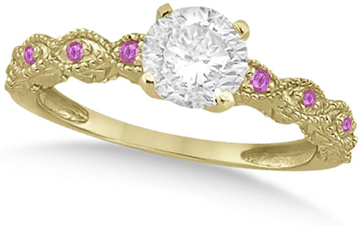 Ladies Vintage Diamond and Pink Sapphire Engagement Ring w/Marquise Style Shank 18k Yellow Gold 0.75ct