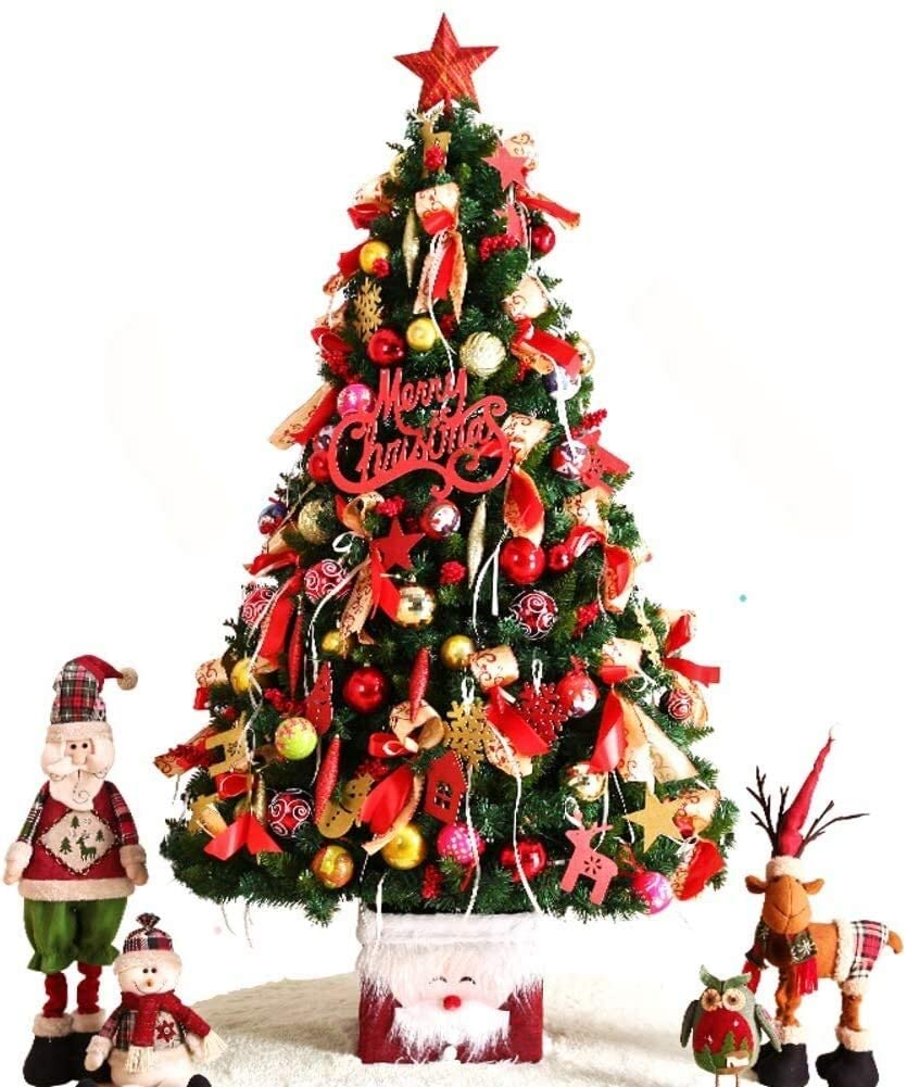 LXLXCS Easy Christmas Tree with Led Light Premium Optical Fiber Tree Clear Lights Solid Metal Legs Auto-Spread Decoration Artificial Christmas Tree 220cm 2020 (Color : A, Size : 220cm(87inch))