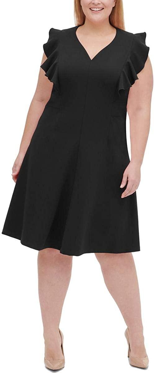 Tommy Hilfiger Womens Plus Ruffled Knee-Length Party Dress Black 22W