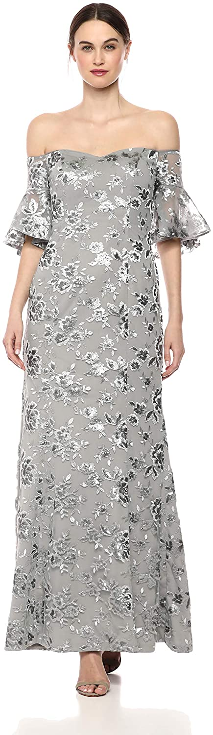 Calvin Klein Women's Off The Shoulder Flutter Sleeve Gown with Side Ruch