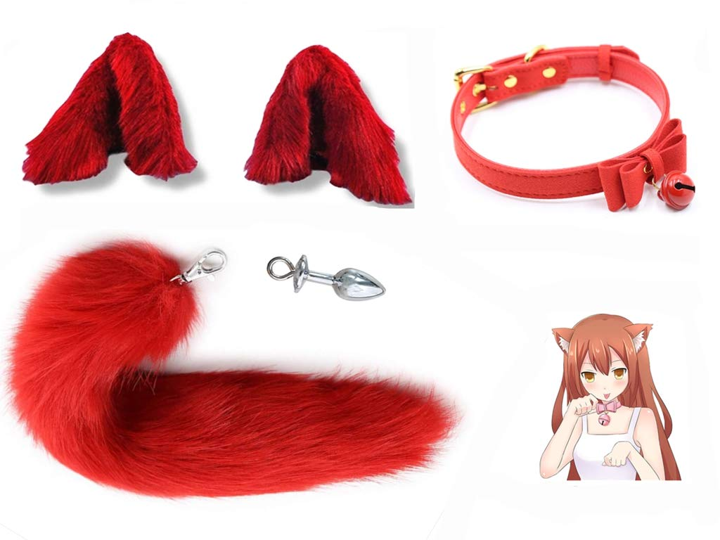 Faux Fur Cat Ears Hair Clip Furry Wolf Fox Tail Halloween Bell Leather Neck Chocker Cosplay Kit Fluffy Animal Costume A¨½us Pl¨²g(Size-M)