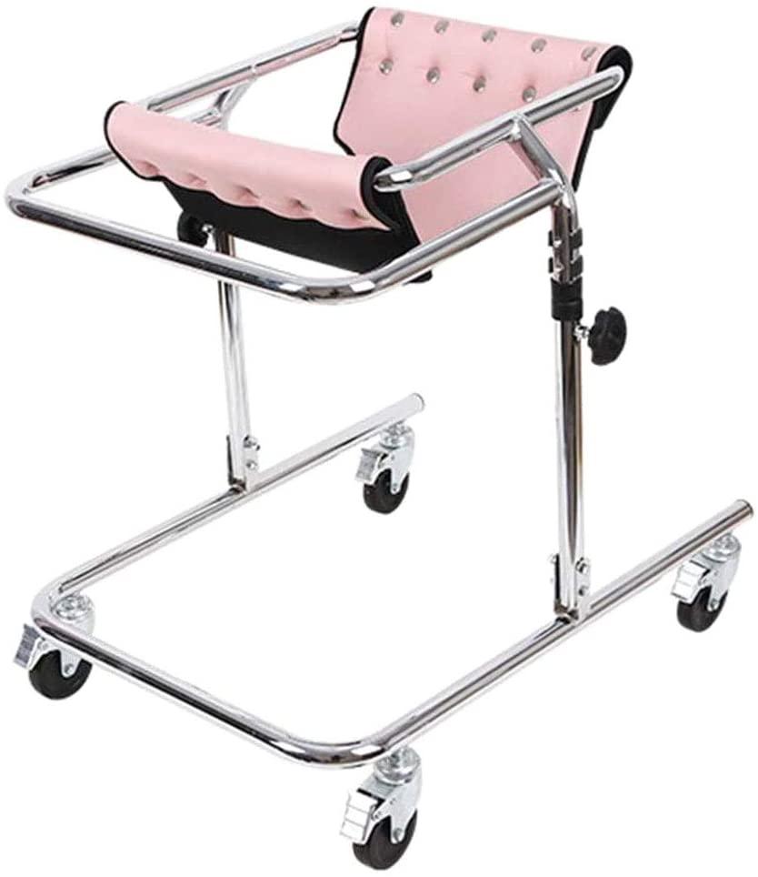 Child Rehabilitation Walker, Adjustable High, Carbon Steel Frame Disabled Assistive Equipment for The Elderly, Suitable for Height 80-120cm,B
