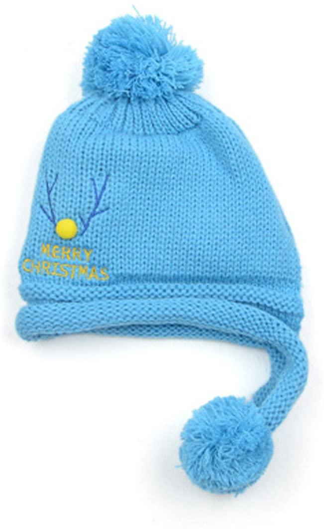 OLQMY-The Baby Ear Cap With Winter Wool Cashmere Hat Children Children Baby Turtleneck Hat 10-12 Months Blue