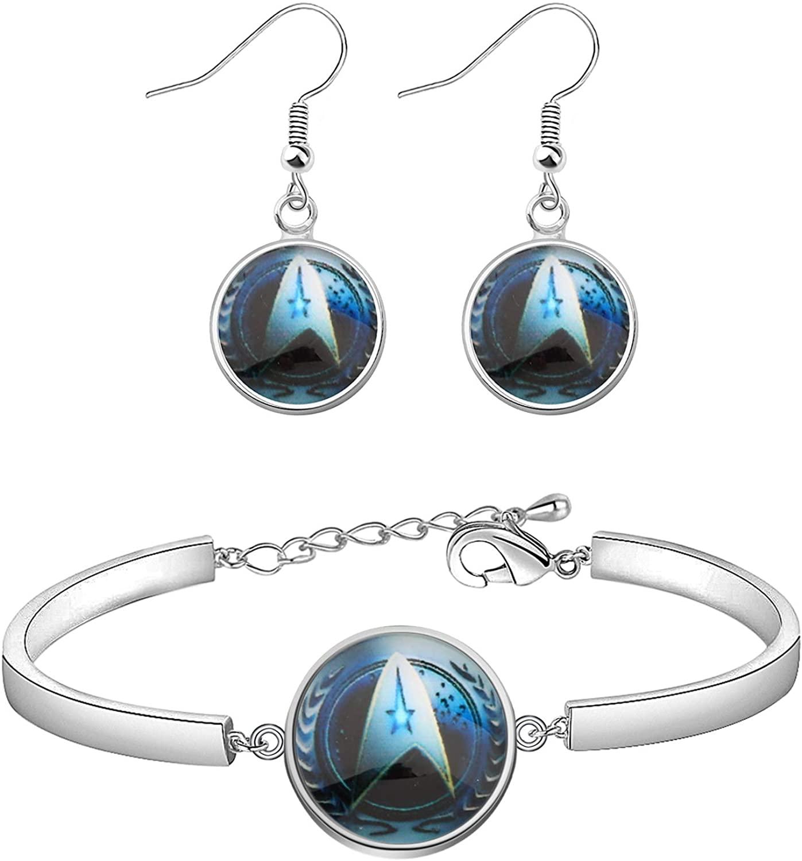 SEIRAA Star Trek Earrings Gift for Trekkie Glass Time Gem Star Trek Bracelet Gift for Star Trek Fans