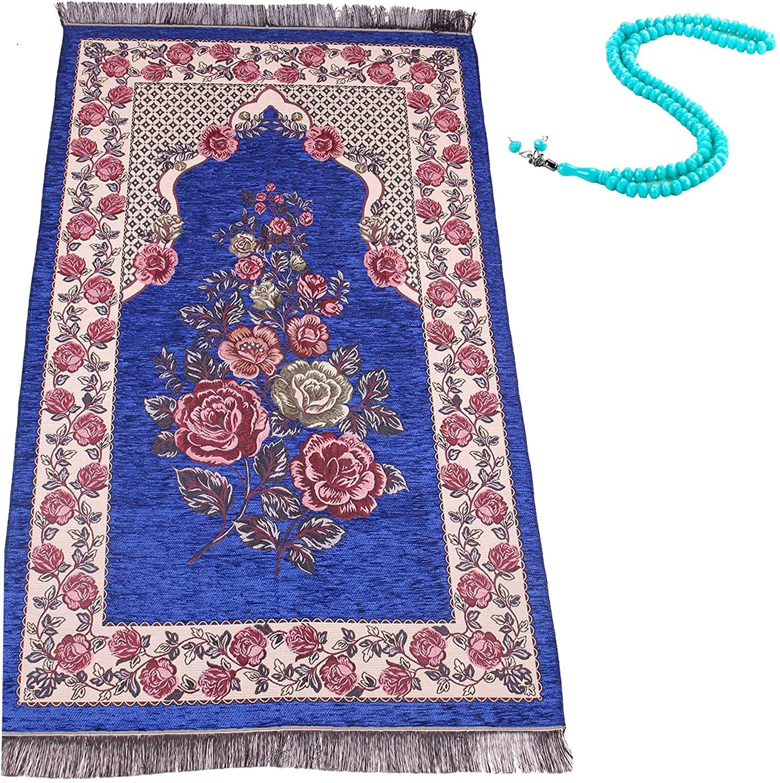 Chenille Muslim Prayer Rugs Islam, Ramadan Muslim Praying Mat Portable Islamic Turkish Beads Janamaz Carpet Salah (Dark Blue)