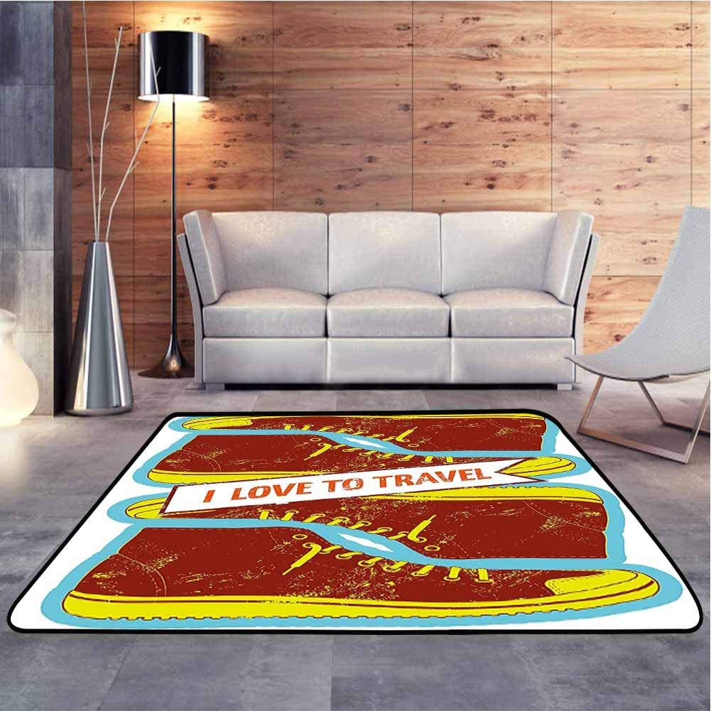 Traditional Area Rug Love to Travel Quote with Sport Shoes Vintage Illustration Sky Blue Apple Abstract Design Area Rug Decor Carpet Popular Colors, 6.5 x 10 Feet