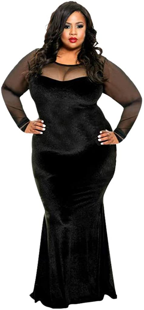 Thenxin Women's Plus Size Velvet Evening Dresses Mesh Long Sleeve Bodycon Party Prom Gown