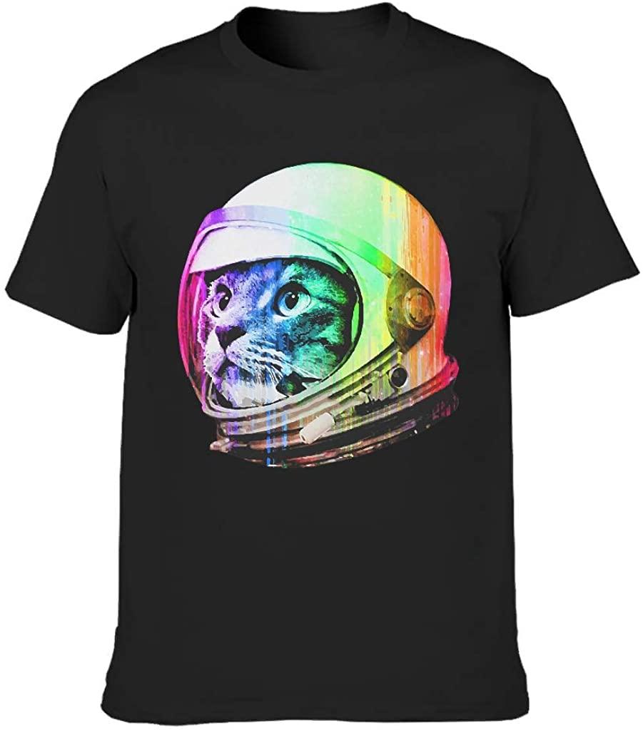 Cat Astronaut Print Men's Cotton T-Shirt Novelty Funny Tee