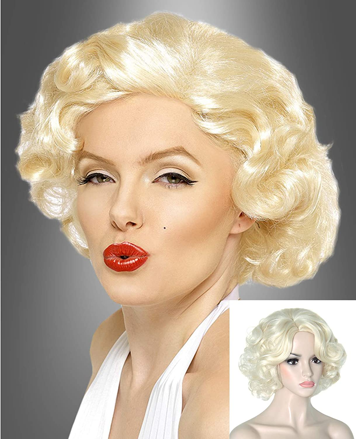 Juziviee Short Blonde Wigs for Women Marilyn Monroe Cosplay Costume Wavy Curly Hair Wig Natural Cute Heat Resistant Synthetic Wigs for Daily Party Halloween AD024B